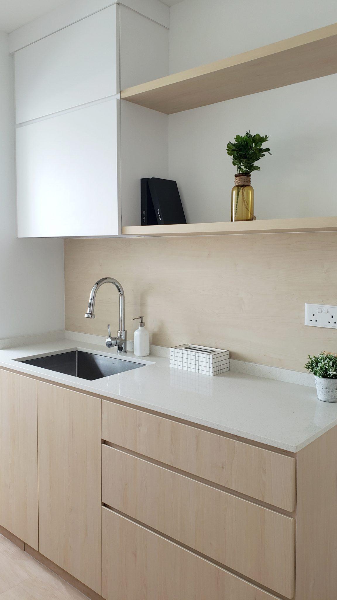 white wood kitchen hdb