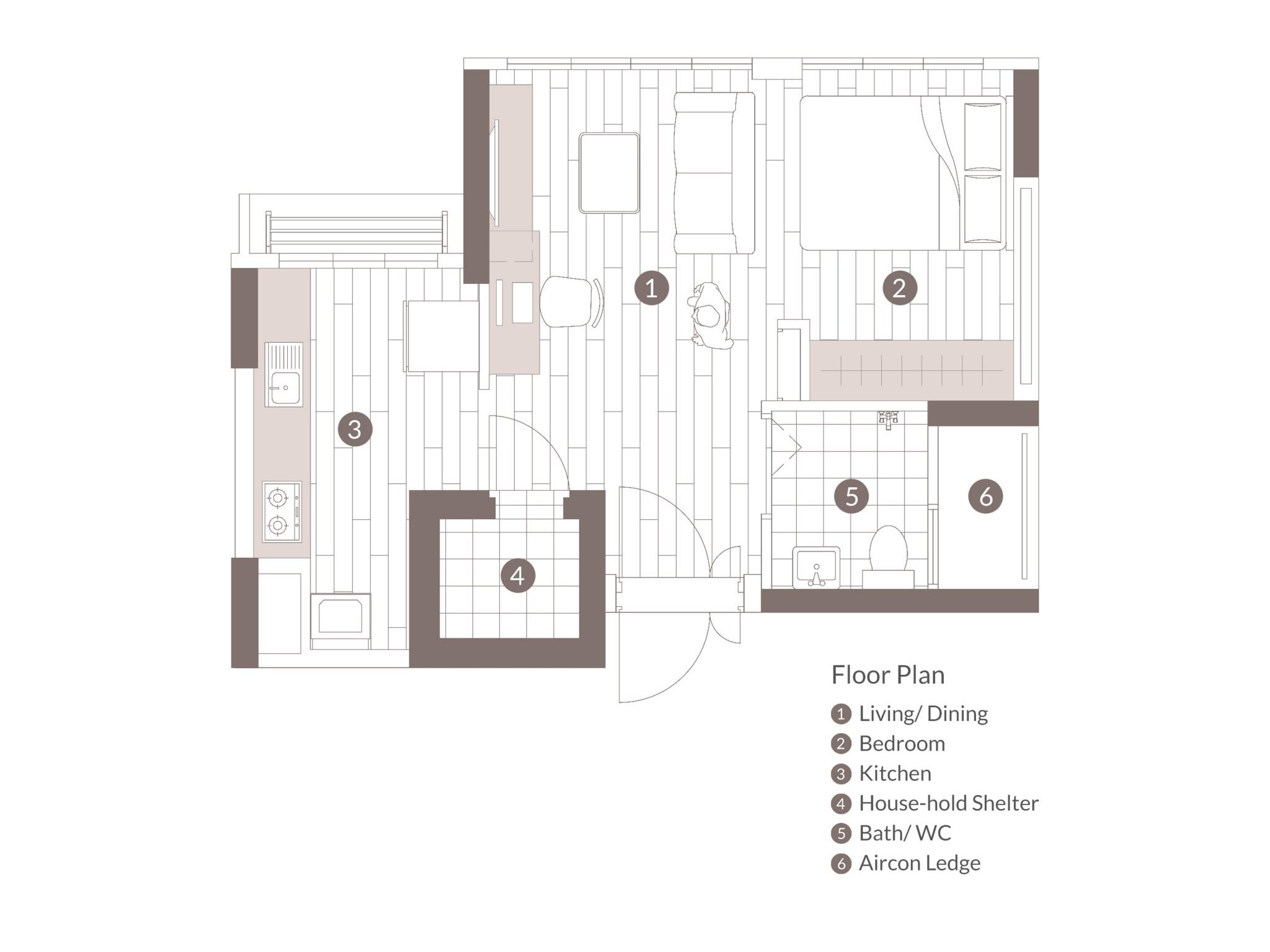 hdb bto one room floorplan